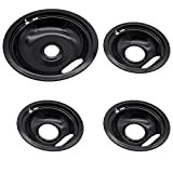 Ecumfy W10290353 and W10290350 Porcelain Drip Pans, 3 6-Inch and 1 8-Inch Pans (4 Pack), Replacement for Whirlpool Amana Frigi-daire Electric Stove & Surface Burner, Black