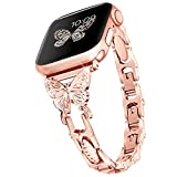 Wipalor Compatible with Apple Watch Band 38mm 40mm, Lightweight for Women, Easy Adjustable Bracelet, Bling Shiny Diamond on Butterfly, Jewelry Metal Strap for iWatch Series 6 5 4 3 2 1 SE(Rose Gold)
