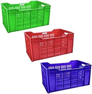 Urmila Plastic Heavy Duty Plastic Crate Multipurpose Crates Storage & Organizer for Home 54x36x29cm Multicolor Set of 3