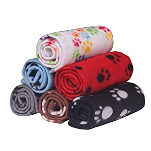YAKA Pet Blanket Warm Dog Cat pet Rats Fleece Blankets Sleep Mat Pad Bed Cover with Paw Print Soft Blanket for Kitten Puppy and Other Small Animals