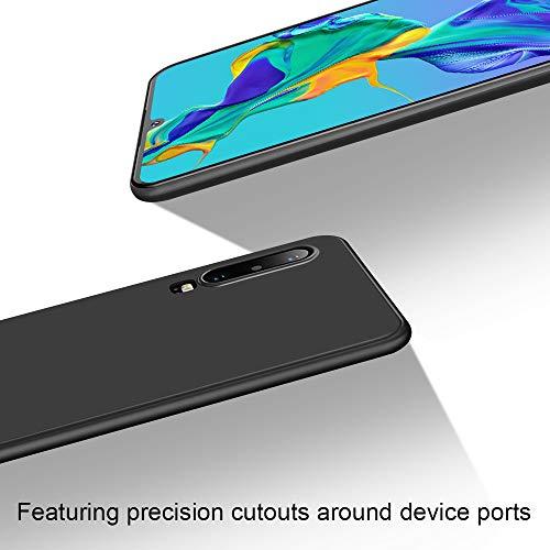 Whew Hülle Kompatibel Huawei P30, Soft TPU Schutzhülle Case - Schutz vor Kratzer, Staub und Scratch- Stoßfest Silikon Schwarz Matte Handyhülle Cover Kompatibel Huawei P30 - 3