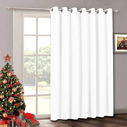 RYB HOME Room Darkening Curtain for Bedroom, Privacy Window Shades Curtain for Living Room Dining Office, Thermal Insulated Drapes for Patio Door, 100 inches Wide x 84-inches Long, Pure White