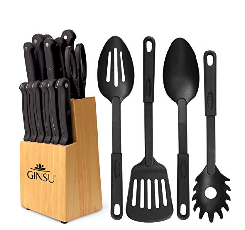 Ginsu Kiso Dishwasher Safe Black 18 Piece Set Natural Block
