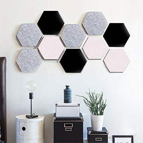 Dmqpp Felt Hexagon Bulletin Board Tegels Set met Volledige Sticky Back, Pin Board, Cork Board Memo Board van Hexagon Vilt Pads Houd notities Foto's Doelen Foto's Tekening sleutel Kleurrijke Schuim muur Decoratieve