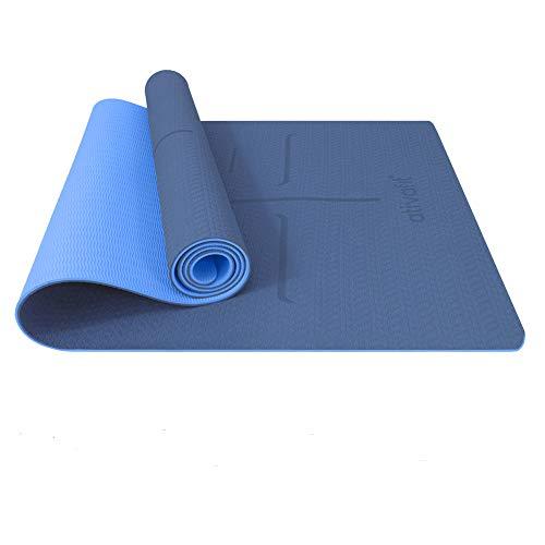 ATIVAFIT Tappetino da Yoga, Tappetino da Yoga Imbottito e Antiscivolo Fitness Pilates e Ginnastica con Cinturino di TPE,183 x 59x 0.6 cm