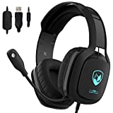 Cuffie Gaming PS4 PC Xbox One, Maegoo Over Ear Cuffie da Gaming con Microfono Luce LED Cancellazione del Rumore da 3,5 mm Stereo Cuffie per PC PS4 Xbox One Nintendo Switch Laptop Tablet Mac Telefono