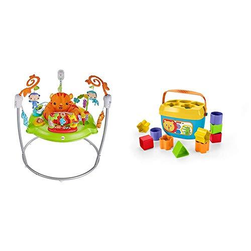 Fisher-Price Saltador animalitos de la selva, para bebé +1 año (Mattel CHM91) + - Bloques Infantiles, Juguete Bloques Construcción para Bebé +6 Meses (Mattel FFC84)