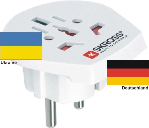 Reiseadapter - Auslandsadapter auf Deutschland Schukostecker - Strom Netz Adapter für Stecker aus Ukraine 220-230V Umwandlungsstecker Reisestecker German Travel Adapter Ukraine