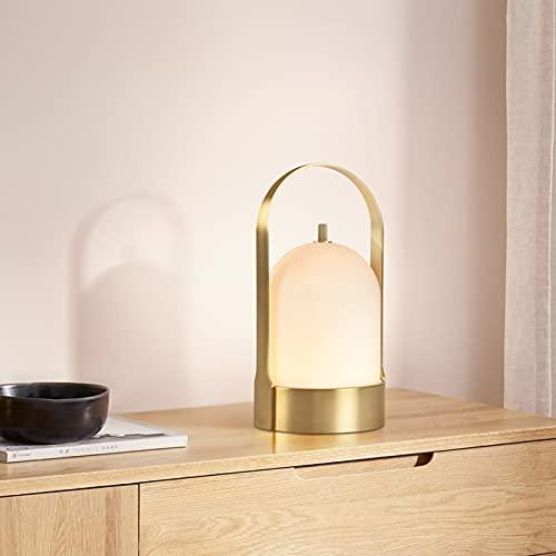 Lampada da Comodino Portatile LED Ricaricabile Lampade da Tavolo da Esterni Dimmerabile Cavo USB-C Lampada da Giardino Portatile Manico in Metallo Ramato per Interni ed Esterni Luce Notturna Lampada