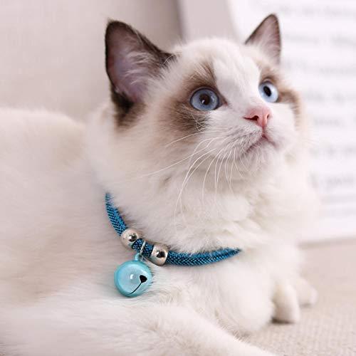 SALUTUYA Cat Bell Collar Decoration Zubehör für Cat Decoration mit Verlängerungskette(Jane Blue)