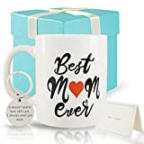 Mhrevyi Best Mom Ever Coffee Mugs Gifts Set from Daughter and Son - kawaii Coffee Cups - Cute Birthday Gift Mug for Women - Funny Christmas Day Gift for Mother - Novelty Ceramic Mug White 11oz