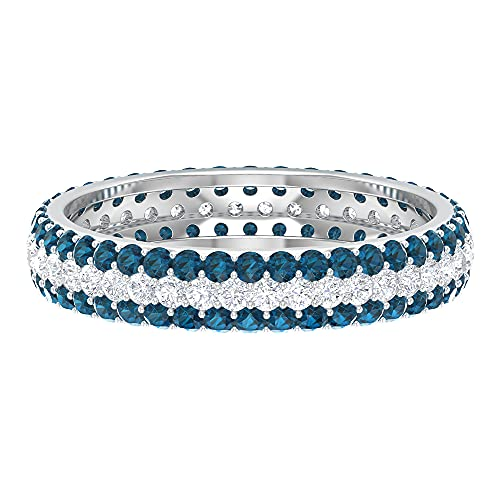 1.75 CT Eternity Anillo de boda de tres filas con diamante y topacio azul Londres, 14K Oro blanco, Size:EU 61