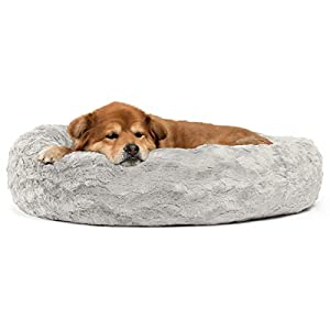 Best Friends by Sheri The Original Calming Donut Cat and Dog Bed in Lux Fur, Machine Washable Removable Zipper Cover, Orthopedic Relief, for Pets up to 45 lbs. – Medium 30″X30″ in Gray