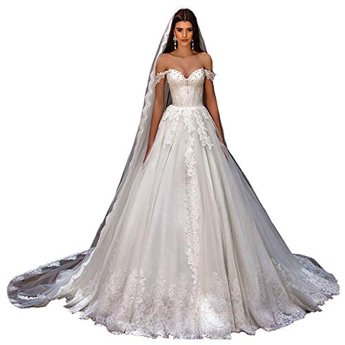 iluckin Elegant Women's Off Shoulder A Line Lace Wedding Dresses for Bride Cap Sleeves Bridal Ball Gown with Train Long Ivory