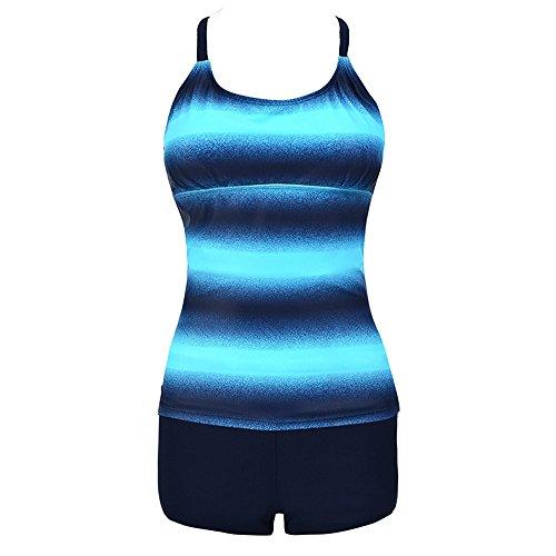 Xmiral Badeanzüge Bademode Damen Plus Size Gradient Tankini Strandkleidung Gestreift Farbverlauf Zweiteiler(2XL=DE40-42,Blau)