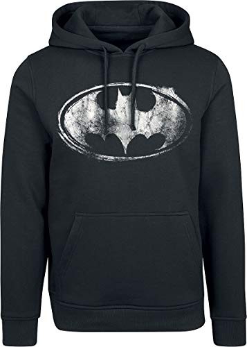 Batman Smudge Logo Hombre Sudadera con Capucha Negro XXL, 65% algodón, 35% poliéster, Regular