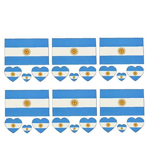 Banderas Copa Mundial de Tatuaje Nacional de moda de Banderas Argentina Temporal cara del tatuaje etiqueta engomada del cuerpo de los ventiladores del fútbol viendo el fútbol Juego de Deportes 6 hojas