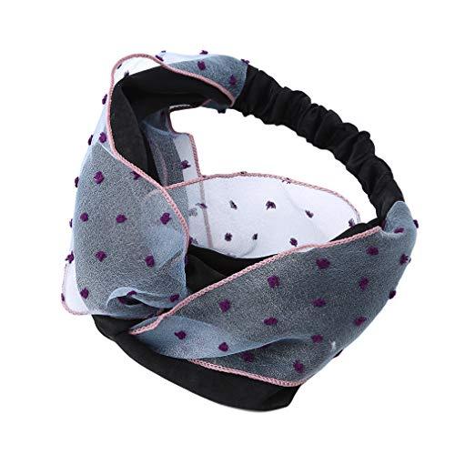 Pinhan Bandeaux pour Les Cheveux de Headband Elastic Head Wands Bandeau élastique pour Cheveux Twisted Cross-Head Accessoire, Bleu Noir