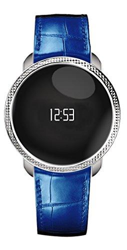 MyKronoz KRZECIRCLE-PREM-EMB-SILV Premium Fitnessband (gepraegt Tracker Schrittzähler, Uhr, Bluetooth) Silber/blau