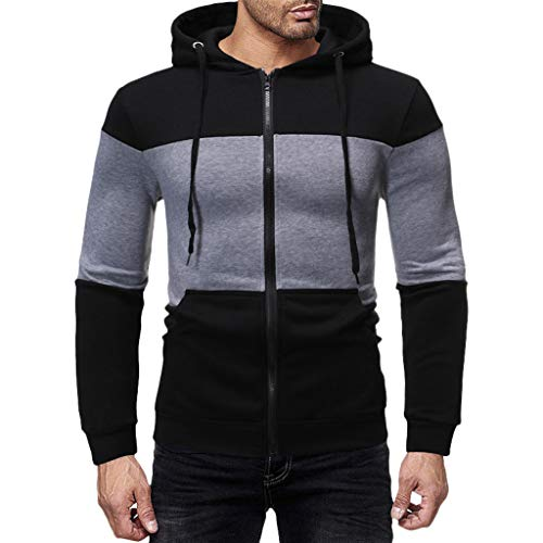 Men's Hoodies Pullover Casual Sports Outwear Sweatshirts ◆Elecenty◆ Slim Fit Hoodie Color Block Pullover Hooded Sportbekleidung with Kanga Pocket