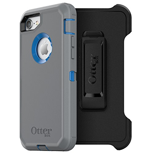 OtterBox DEFENDER SERIES Case for iPhone SE (2nd gen - 2020) and iPhone 8/7 (NOT PLUS) - Retail Packaging - MARATHONER (COWABUNGA BLUE/GUNMETAL GREY), Single