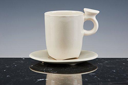 De méditation Tasse à thé/café Porcelaine émaillée blanche ; Lot de 2 tasses avec PIATTO. fait à la main tasses design !