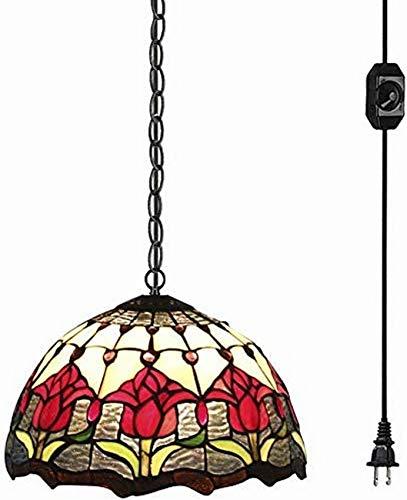 QTWW Lámpara de Techo con Pantalla de Vidrio de Estilo Barroco Lámpara de araña Colorida con Cable de Interruptor de atenuación de Encendido/Apagado UL enchufable de 15 pies, Bombilla no inclui
