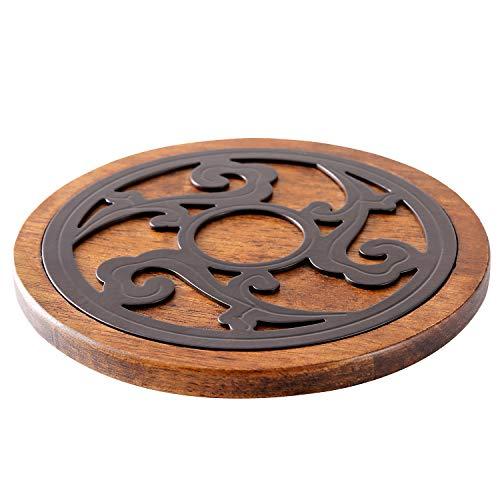Dessous de plat en bois et métal - Rond - Diamètre : 20 cm - Qualité supérieure - Résistant à la chaleur - Pour casseroles chaudes, poêles à gratin - Convient pour la cuisine et la table à manger