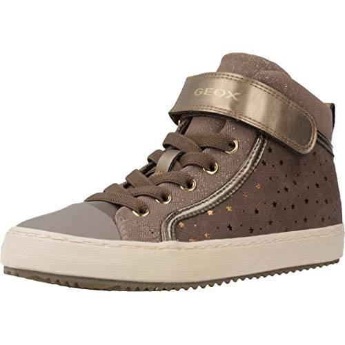Geox Mädchen J Kalispera Girl I Hohe Sneaker, Grau (Smoke Grey C9006), 34 EU