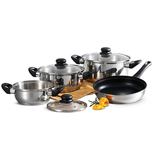 Tramontina Primaware 80117/585DS Stainless Steel Induction-Ready Tri-Ply Base 7-Piece Cookware S