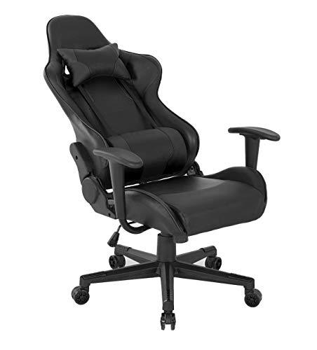 Gaming-Stuhl aus Leder, ergonomischer Computer-Büro-Schreibtischstuhl, Racing-Stil, höhenverstellbar, Drehgelenk, hohe Rückenlehne mit Lendenwirbelstütze und Kopfstütze für Erwachsene (schwarz (B))