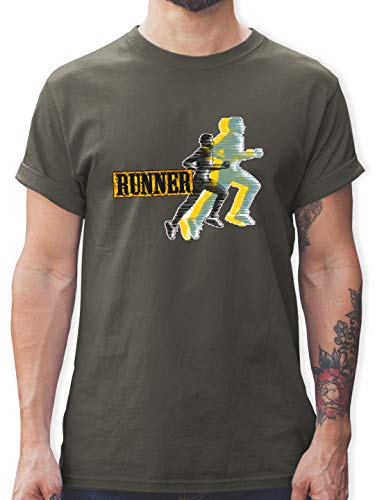 Laufsport - Runner - L - Dunkelgrau - Geschenk - L190 - Tshirt Herren und Männer T-Shirts