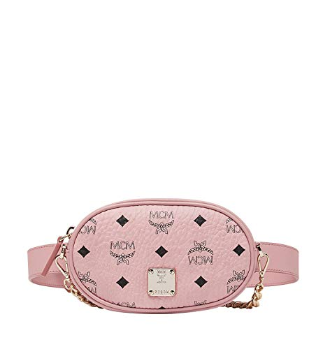 Hardware plaque engraved with brand name logo featured in front. Signature brand name logo pattern featured throughout. Includes adjustable crossbody shoulder strap with coated canvas and chain-link detail for desired carry and look. Lined interior f...