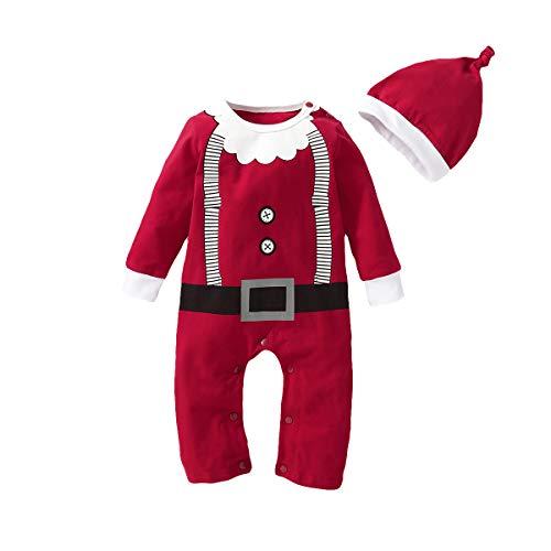 T TALENTBABY - Disfraz de Pap Noel para beb, nia, nia, nia, nio, Navidad, Disfraz de Pap Noel, Elf, con cinturn, Pelele + Gorro de Rayas, para beb, Navidad, Vestido Up Rojo/Blanco, 3-6 Meses