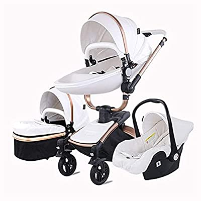 FXBFAG Cochecito de mamá Caliente 2 en 1 y 3 en 1 Laby High Landscape Baby Carriage 360 ??El Marco de Aluminio Giratorio Puede Sentarse y acostarse con Cochecito Combinado