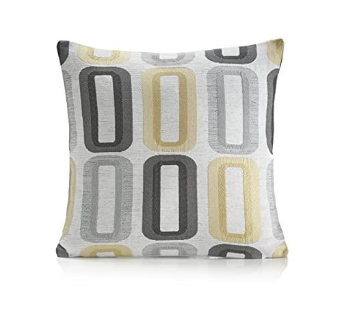 Alan Symonds Lisbon Range Retro Chenille Cushion Cover 18' in X 18' in Ochre/Silver