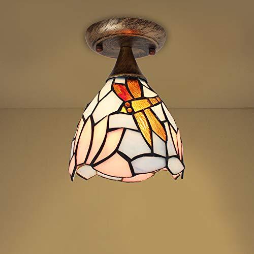 Lámpara de techo Tiffany-Art semi-Flush Mount de fijación de 110 V-120 V, 1 luz, lámpara de techo para pasillo, dormitorio, balcón, candelabro, I