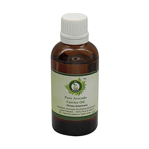 R V Essential Puro 50ml aguacate del aceite del portador (1.69 oz)- Persea Americana (100% pura y fría natural prensada) Pure Avocado Carrier Oil
