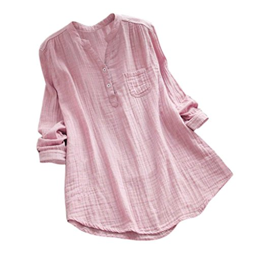 JURTEE Damen Sommer Stehkragen Langarm Beiläufig Lose Tunika Tops T Shirt Bluse Oberteile(Rosa,XXXXX-Large)