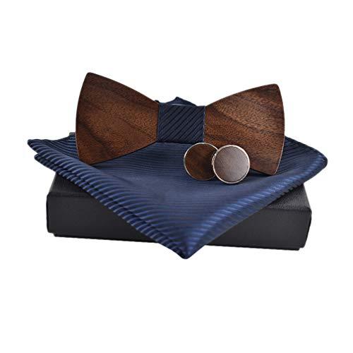 junkai Herren Krawatte Holz Fliege Taschentücher Manschettenknöpfe Set Einstecktuch Set