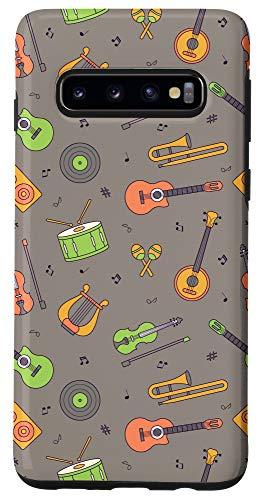 Galaxy S10 Vintage Music Instruments Guitar Lyre Viola Mandolin Pattern Case