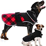 Warm Dog Coats Windproof Dog Jacket Plaid Winter Clothes,Reversible Dog Cold Weather Reflective Vest with Fleece Lining, Small Medium Large Dog Outdoor Tracksuit for Bulldogs Labrador Golden Retriever