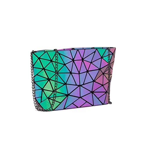 Ulalaza Geometric Luminous Tote Bag Holographich Monederos y Bolsos Flash Reflactive Crossbody Bolso para Mujeres