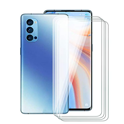 ZXLZKQ [4-Piece] Tempered Glass Screen Protector for Oppo Reno 4 Pro 5G (6.55 inches), Ultra Clear Tempered Glass, Heavy Duty 9H Hardness Glass Screen Protector