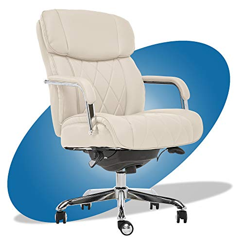 La-Z-Boy Sutherland Quilted Leather Executive Office Chair with Padded Arms, High Back Ergonomic Desk Chair with Lumbar Support, Ivory White Bonded Leather