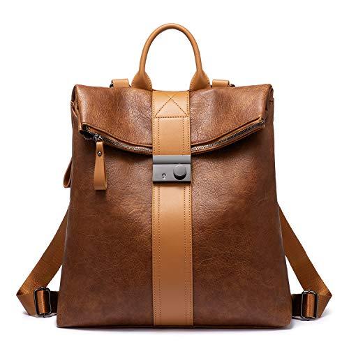 Realer Rucksack Damen, 2 in 1 Rucksacktasche, Wasserdichte Rucksackhandtasche Vintage Handtasche als Rucksack, PU Lederrucksack Schultertasche, Große Reiserucksack Braun