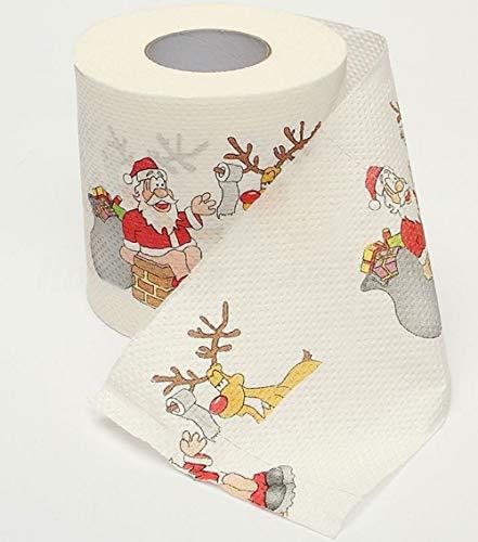 Hpybest 2019 - Papel higiénico con impresión de Reno de Papá Noel para decoración de Navidad para Mesa de Año...