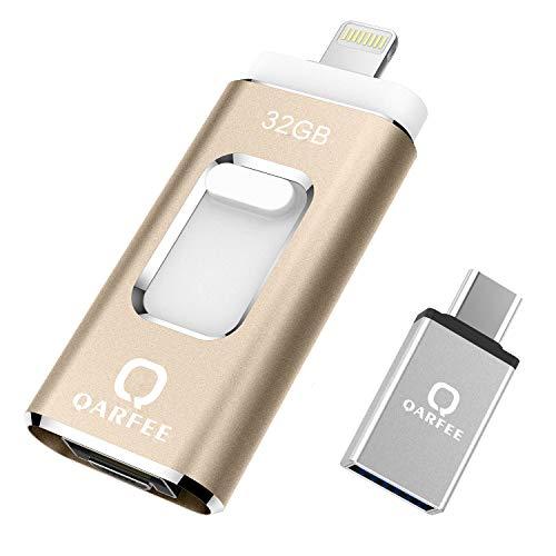 Memoria USB Universal de 32 GB, Pen Drive Tipo C Micro USB Unidad de Almacenamiento Externo U Disk para iPhone/iPad/iPod/Mac/iOS/Android teléfono móvil y Ordenador, Color Dorado
