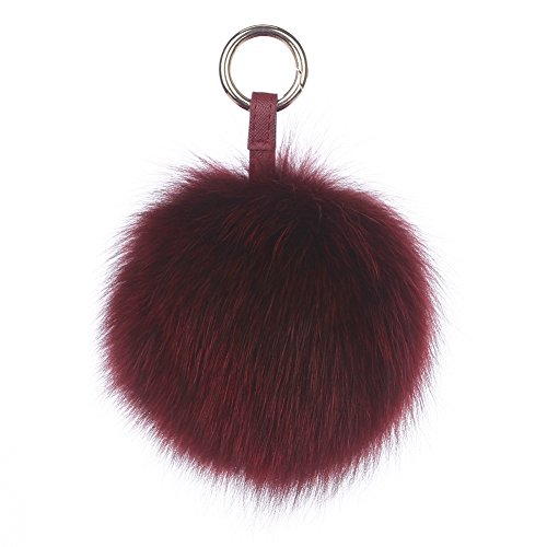 Ferand Echter Pelz-Ball Schlüsselanhänger, Fuchs Taschenanhänger Pelzbommel, Pelz-Anhänger für Handtaschen, Rückspiegel im Auto, 13cm, Burgund