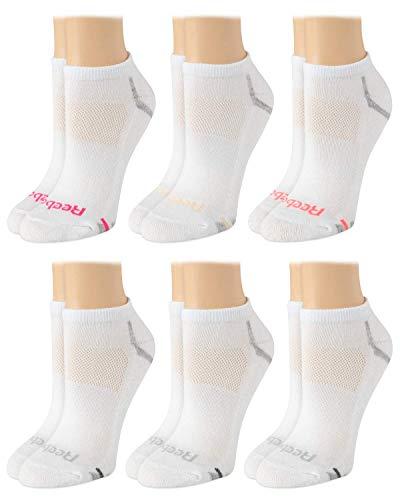 Reebok Women's Socks - 6 Pack Athletic Low Cut Ankle Socks, Size Shoe Size: 4-10, White